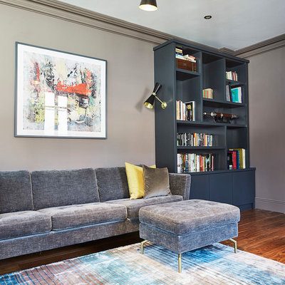 Example of a mid-sized trendy family room design in Dublin