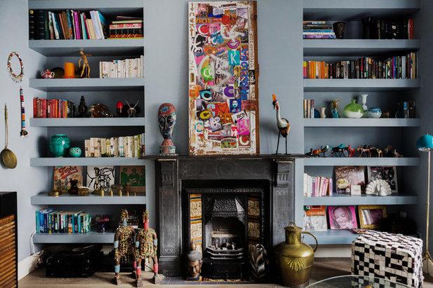 Stylische Idee: Regale und Wände in der gleichen Farbe streichen