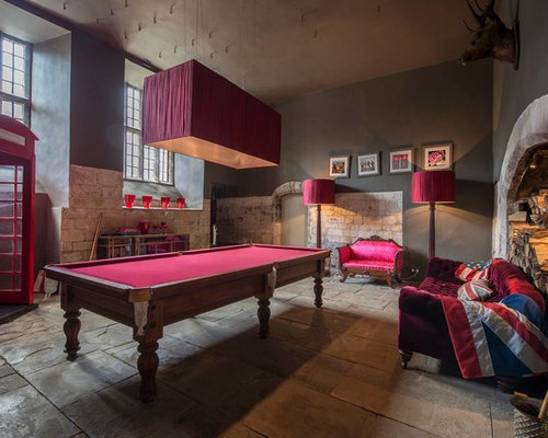 Inspiration For A Medium Sized Eclectic Family And Games Room With Grey  Walls, A Game