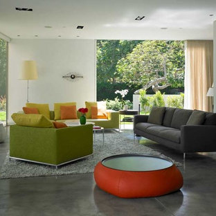 Family room - modern gray floor family room idea in Los Angeles
