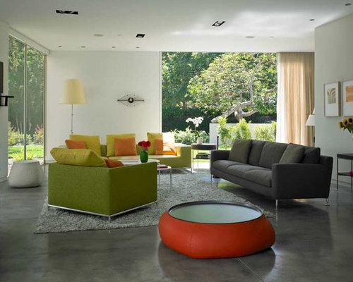 grey stained concrete floors. Modern gray floor family room idea in Los Angeles Grey Stained Concrete  Houzz