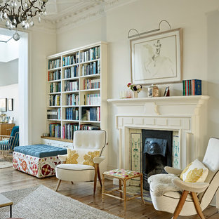 Design ideas for a large victorian family room in London.
