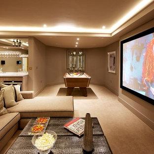 Свежая идея для дизайна: гостиная комната в стиле современная классика - отличное фото интерьера