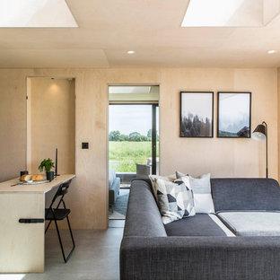 Modelo de sala de estar abierta, nórdica, pequeña, sin chimenea, con paredes beige, suelo de cemento y suelo gris