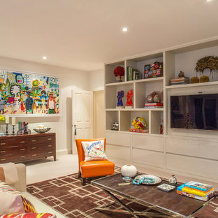 This is an example of a contemporary family and games room in London with beige walls, carpet and a wall mounted tv.