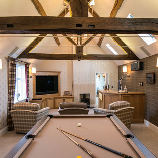 Example of a large cottage open concept carpeted game room design in Other with multicolored walls, a corner tv and a standard fireplace