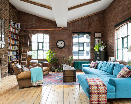 Inspiration For A Large Urban Living Room In London With Red Walls, Medium  Hardwood Flooring