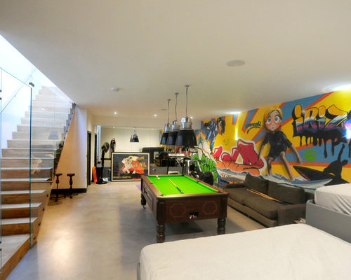 Inspiration For A Contemporary Concrete Floor Family Room Remodel In  Oxfordshire With Multicolored Walls