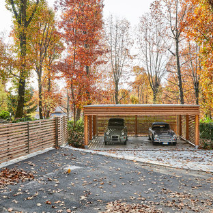 Contemporary detached two-car carport in Milan.