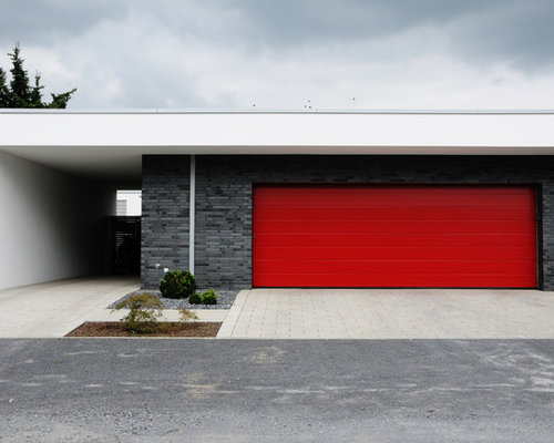 Charming Example Of A Large Minimalist Attached Two Car Carport Design In Dusseldorf