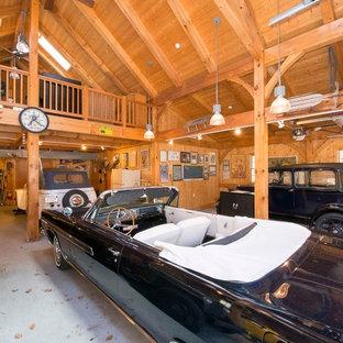 Example of a huge classic detached three-car carport design in Boston