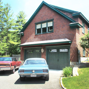 Inspiration for a large timeless detached two-car garage workshop remodel in Boston