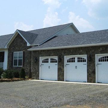 3 car garage addition & stone facade makeover