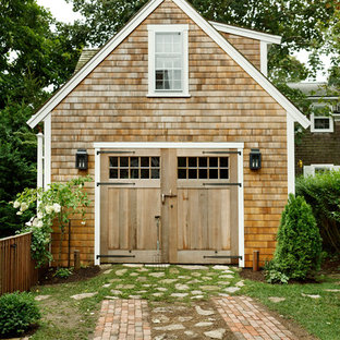 Inspiration for a beach style detached garage remodel in Boston