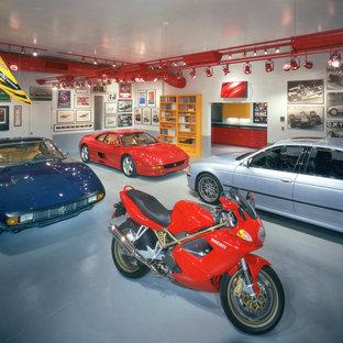 Inspiration för stora moderna fyrbils garager och förråd