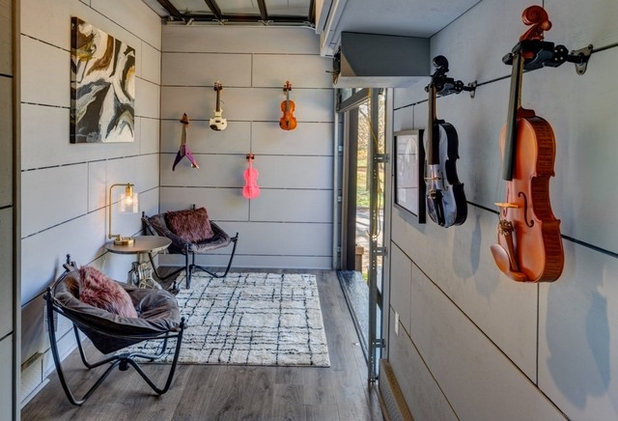 "Garage ""Amplified"" Tiny House Music Studio Interior"