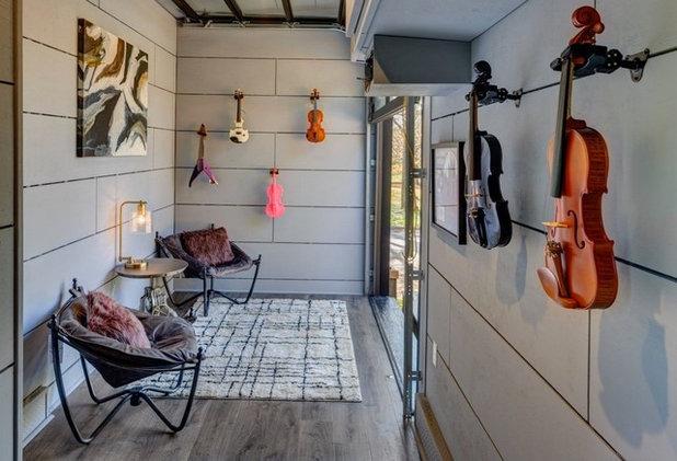 "Garage ""Amplified"" Tiny House Music Studio Interior"