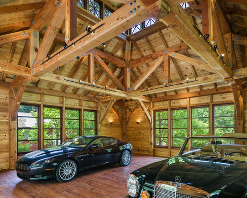 Heavy timber trusses garage and shed design ideas for Arts and crafts garage plans