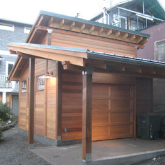 asian garage and shed by Ventana Construction LLC