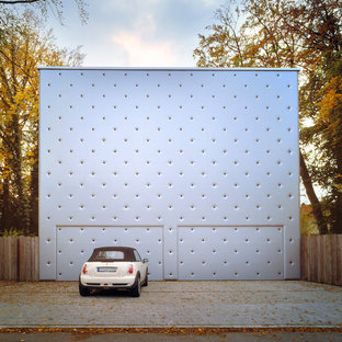 This is an example of a modern double garage in Other.