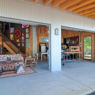 Inspiration for a rustic attached garage workshop remodel in DC Metro