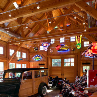 Barn Interior with exposed stained wood and hand-hewn beams
