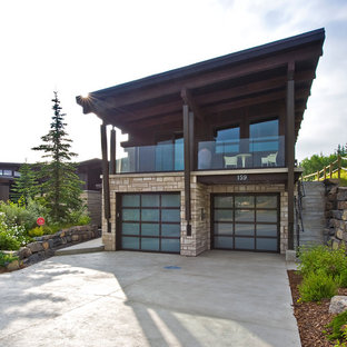 Contemporary attached double garage in Calgary.