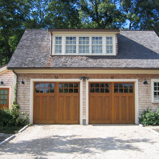 Mid-sized elegant detached two-car garage photo in Boston