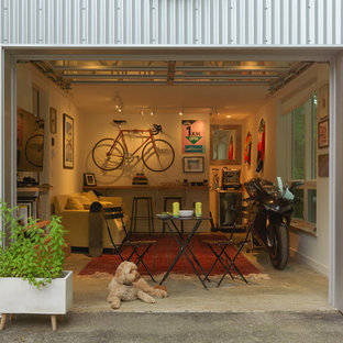 Inspiration for an industrial garage workshop remodel in Burlington