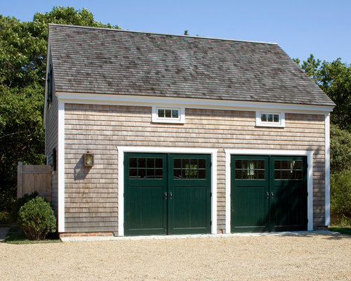 Mid Sized Coastal Detached Two Car Garage Photo In Boston