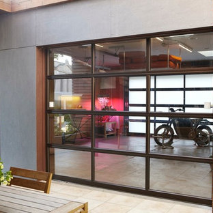 Example of a large minimalist detached two-car garage workshop design in Chicago