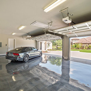 Inspiration för stora moderna tillbyggda tvåbils garager och förråd