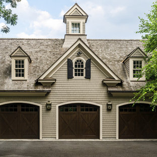Expansive traditional attached three-car garage in New York.