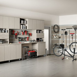 Example of a large urban two-car garage workshop design in San Diego