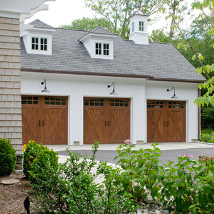 Garage - large country garage idea in New York
