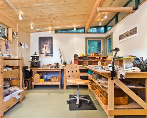 Example Of A Small Minimalist Detached Garage Workshop Design In Seattle