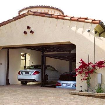 Custom car lift in California garage