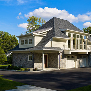 Garage - huge traditional detached three-car garage idea in Philadelphia