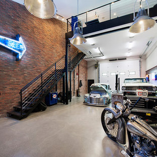 Inspiration for an expansive industrial three-car workshop in Calgary.