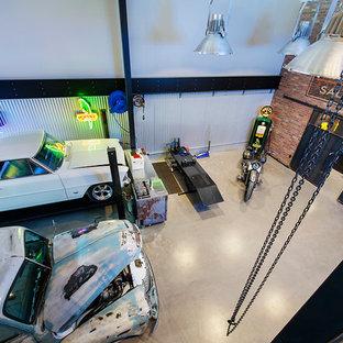 Свежая идея для дизайна: гараж в стиле лофт - отличное фото интерьера
