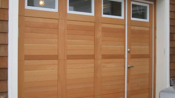 Custom Wood Face WalkThru Garage Doors