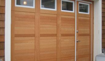Custom Wood Face WalkThru Garage Doors