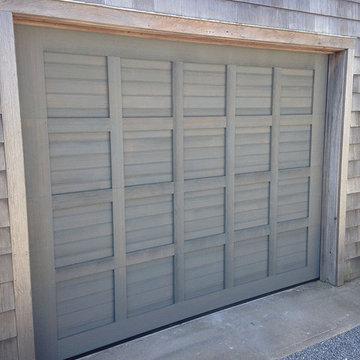 Custom Wood Garage Doors with antiquing process