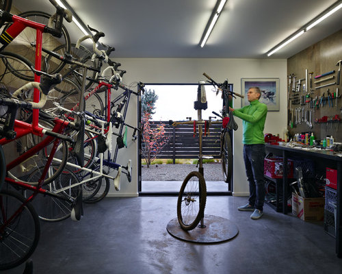 Mid Sized Trendy Attached Garage Workshop Photo In Seattle