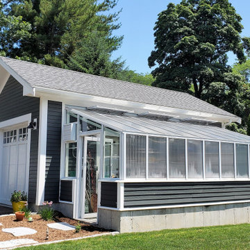 Detached garage and greenhouse