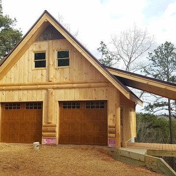 Detached garage Hybrid log/stick frame