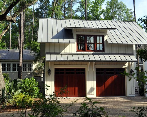 Garage overhang houzz for Metal garage apartment