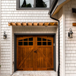 Exterior makeover with stained cedar shake siding and wood accents
