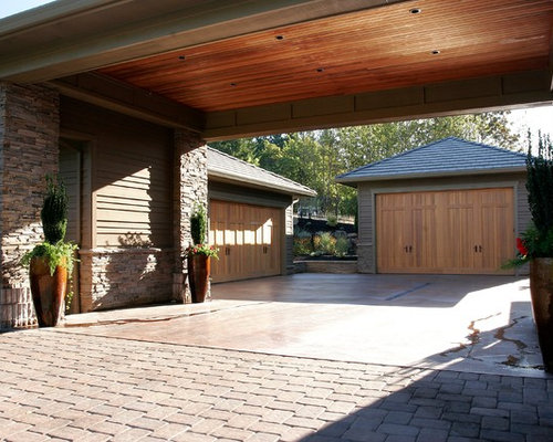 Two Car Garage With Carport Houzz