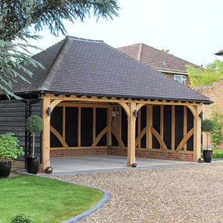 Extra wide open carport oak framed garage